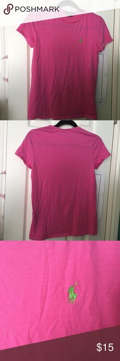 Ralph Lauren Sport t-shirt Hot pink color. Worn only once. Thin material but very comfy. Cute green logo in the front. Thanks for shopping! :) Ralph Lauren Tops Tees - Short Sleeve