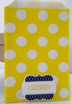Yellow Polka Dot  treat bags with hand stamped by Justabitofpaper, $10.00
