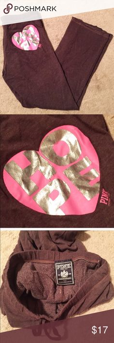 """PINK Victoria's Secret Hope sweatpants Rich brown color, super comfy distressed material, baggy fit. Size small (please read measurements- these are large for a small). Measures approx 32"""" inseam, 11"""" rise, 33"""" drawstring elastic waist. Cotton/poly blend. 2 front pockets. """"Hope"""" logo. Flawless! Bundle to save! NO TRADES, no modeling. Reasonable offers welcome via offer button. PINK Victoria's Secret Pants"""