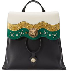 Gucci Malin Medium Studded Leather Backpack, White/Black/Gold - $2,390.00