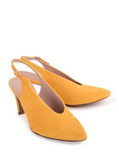 5f4fee24cbb2 Farven! Yellow corn suede shoes with high heel fra Wonders.com