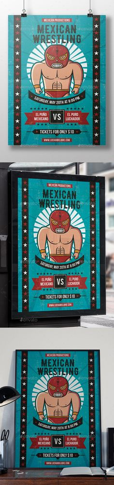 Lucha Libre Flyer Template — Photoshop PSD #wrestling #competition • Available here → https://graphicriver.net/item/lucha-libre-flyer-template/19878958?ref=pxcr