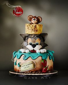 Tom & Jerry Cake by Purbaja B Chakraborty by Purbaja B Chakraborty - Tortenkreationen - Cake Design Bolo Tom E Jerry, Tom And Jerry Cake, Sweet Cakes, Cute Cakes, Pretty Cakes, Crazy Cakes, Unique Cakes, Creative Cakes, Beautiful Cakes