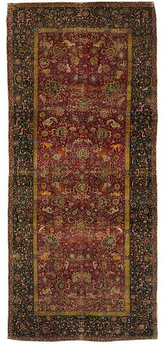 """The Emperor's Carpet Object Name: Carpet Date: second half 16th century Geography: Iran Culture: Islamic Medium: Silk (warp and weft), wool (pile); asymmetrically knotted pile Dimensions: Rug: L. 299 in. (759.5 cm) W. 133 1/2 in. (339.1 cm) Wt. on a 10"""" tube: 144 lbs. (65.3 kg) Classification: Textiles-Woven"""