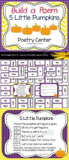 Five Little Pumpkins Build a Poem Pocket Chart Center