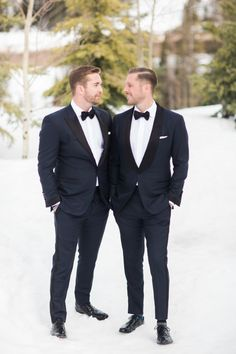 A nontraditional winter wedding at a Utah mountain resort featuring a white gown dress code for female guests that beautifully complemented the snow-covered scenery. Lgbt Wedding, Tuxedo Wedding, Black Tie Wedding, Wedding Suits, Groom Attire, Groom And Groomsmen, White Gown Dress, White Gowns, Groomsmen Fashion