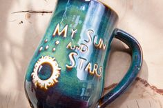MADE TO ORDER Processing time is approximately 1-2 weeks.  Handmade Game of Thrones Mug - My Sun and Stars  Season 6 is over, but help keep the spirit alive for Game of Thrones with this Game of Thrones inspired handmade stoneware mug. This mug is perfect for everyday use. It says My Sun and Stars on the front with a glossy Forest Green glaze. - 3 sizes available  - White stoneware  - Food safe  - Microwave safe  - Dishwasher safe  TurtleRok produces the highest quality handmade coffee mugs…