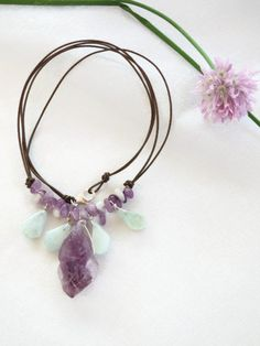 Aquamarine & amethyst necklace with leather and sterling silver, rough cut gemstone, beach wedding, casual elegance, spring pastels