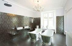 Creative bathroom tile ideas silver accents supermodel