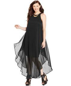 Love Squared Trendy Plus Size Layered Chiffon Maxi Dress