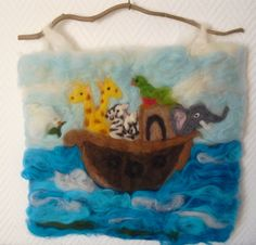 felt picture Noah's ark needle felted picture