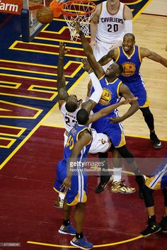 Draymond Green #23 of the Golden State Warriors blocks the ball against LeBron James #23 of the Cleveland Cavaliers during Game Six of the 2015 NBA Finals at the Quicken Loans Arena on June 16, 2015 in Cleveland, Ohio