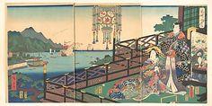 Mitsuuji in the Maruyama Pleasure District of Nagasaki (Nagasaki dejima) - Utagawa Hiroshige II, March 1861 (Edo period)