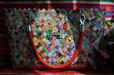 HELLA Handmade Large Magazines Recycled Materials ECO bag H 9.45 L 15.45 W 3.93 by ColorYourLifebyM on Etsy