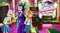 In Frozen Highschool Mischief, Elsa and Anna have to attend Maleficent classes, but they get bored easily and start daydreaming. Help the two frozen sisters cause some mischief behind the evil fairys back. Turn the subjects of magic and biology into a fun experience and pass the tricky tests! Have fun playing with Frozen!