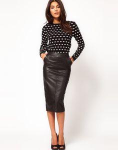 leather skirt -- tea length