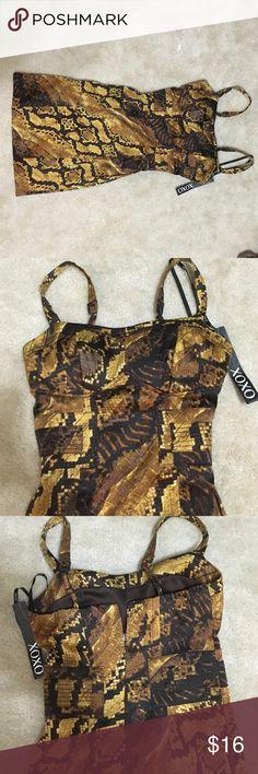 XOXO Tigers Eye Stretch Dress Sz 0/0 (New w tags) XOXO Tigers Eye Stretch Dress Size 0 (New w tags) .. Zippered back... Size 0/0.. Stretchy material... Never worn XOXO Dresses Mini