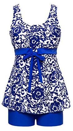 18ded31109 Amazon.com  Lemu Women s Swimsuit Plus Size Swimwear One-Piece Bathing  Blue(6918) 0-2  Clothing