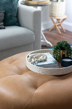 The Basics of Coffee Table Styling - Shades of Blue Interiors Coffee Table Decor Living Room, Living Room Candles, Glam Living Room, Decorating Coffee Tables, Cabin Decorating, Decorating Tips, Round Wood Coffee Table, Rattan Coffee Table, Coffee Table Styling