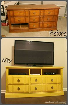 DIY Dresser to TV Console -  Great way to repurpose some otherwise-useless furniture. Aprox. cost a total of about $70, most of which goes toward spray paint. Need about 6 cans, but only because you cover cheap pressboard  with paper stuff.