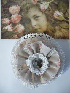 Nostalgie Blume Vintage Shabby Retro Mädchen Cabochon Spitze Rosen Deko Blüte