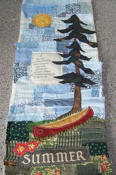 I had lots of fun using up really small pieces of fabric that I just couldn't throw away. I think I may have found a new love. Hanging Quilts, Quilted Wall Hangings, Small Quilts, Mini Quilts, Baby Quilts, Quilting Projects, Quilting Designs, Quilting Ideas, Landscape Art Quilts