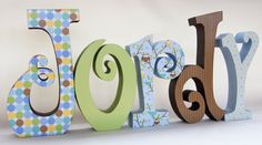 Baby Boy Wood Nursery Letters Owl Decor by thepatternbag on Etsy