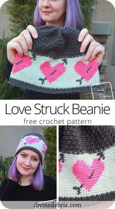 Learn to make the Love Struck Beanie, a fun combination of tapestry and traditional crochet techniques, from a free crochet pattern on DivineDebris.com