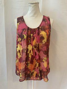 89d40e4f4b9 Ann Taylor Loft Petites Sz PM Red Pink Floral Watercolor Sheer Sleeveless  Blouse  LOFT  Blouse  Casual