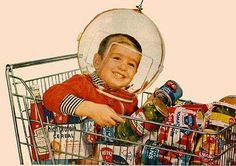 Heinz - space child in shopping trolley Vintage Ads, Vintage Photos, Retro Ads, Consumer Culture, Baby Boomer, Space Race, Atomic Age, Retro Futurism, Kid Spaces