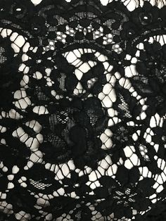 A gorgeous light and detailed Alecon lace from France. With drape, detail, width and scallops this is so very beautiful. French Lace, Fabrics, Couture, Sewing, Beautiful, Black, Tejidos, Dressmaking, Black People
