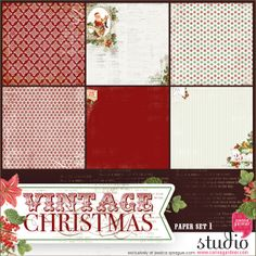 Like a wonderful stroll down memory lane these vintage Christmas papers will bring a sweet nostalgic feel to your holiday layouts.  Six classically distressed papers in shades of holly, cranberry and winter white.