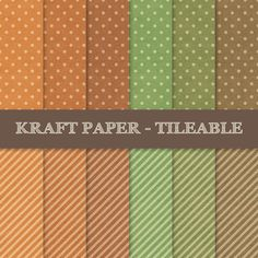 Vintage Polka Dots and Stripes Digital Papers ~ Kraft Paper Texture ~ Green, Orange, Brown ~ Vintage, Old, Shabby, Dirty, Grungy