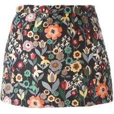 Red Valentino floral jacquard mini skirt ($305) ❤ liked on Polyvore featuring skirts, mini skirts, black, short floral skirt, jacquard skirt, multi colored skirt, short skirts and multicolor skirt