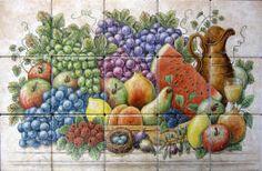 Themed tile art of fruit baskets, harvest or garden vegetable baskets, cornucopias, horns of plenty, with overflowing, abundant healthy organic produce.