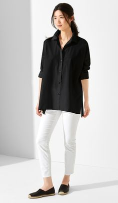 Organic Cotton Poplin Shirt with Notched Hem. Organic Cotton Stretch Slim Ankle Jean. Myth Espadrille Flat.