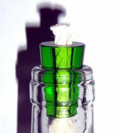 2 Wine Bottle Oil Lamp Green Glass Light Stopper Wicks
