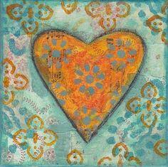 Orange & Turquoise heart- PRINT £10.00