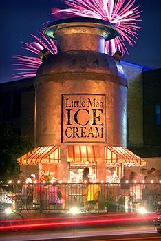 Denver, CO - Little Man Ice Cream serves handmade ice cream, sorbet, and gelato beneath the shop's distinctive giant milk-jug edifice.