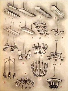 Illustration of hanging lamp styles!