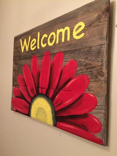 Reclaimed Wood Welcome Sign with Daisy. Pallet by HippieHoundUSA Reclaimed Wood Welcome Sign with Daisy. Pallet by HippieHoundUSA Wooden Pallet Projects, Pallet Crafts, Wood Crafts, Diy And Crafts, Pallet Painting, Tole Painting, Painting On Wood, Easy Canvas Painting, Arte Pallet