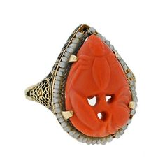 A. Brandt + Son - Art Deco 14kt Carved Coral & Seed Pearl Ring