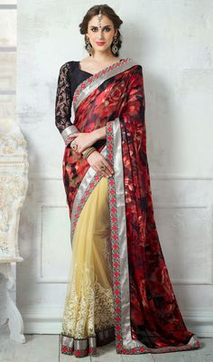 Black, Cream and Red Brasso Net Half N Half Saree Price: Usa Dollar $115, British UK Pound £68, Euro85, Canada CA$123 , Indian Rs6210.