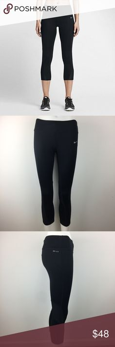 """Nike Power Running Cropped Dry-Fit 749457-010 New without tags (Please note that the measurements are approximate) ALL MEASUREMENTS ARE TAKEN WITH GARMENT LYING FLAT: WAIST: 13"""" RISE: 9"""" INSEAM: 21"""" LENGHT: 28""""  •Dri-FIT fabric helps keep you dry and comfortable •Back mesh panels help keep air flowing•Ergonomic seams and side insets enhance range of motion •Flat seams move smoothly against your skin•Reflective elements remain visible in low light•Wide elastic waistband with back zip pocket…"""