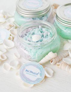 DIY Mermaid Sugar Scrub Party Favors - search diy sugar scrub for more recipes and information.