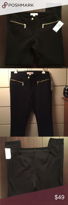 Michael Kors Zipper Pocket Skinny Pants Size 8 Michael Kors Zipper Pocket Skinny Pants Size 8  * Brand: MICHAEL Michael Kors * Style: Skinny/Ankle * Color: Black * Size: 8 * Materials: 70% Polyester, 25% Viscose, 5% Elastane * Measurements: Waist 15 1/4 inches, Inseam 29 inches * Features: Gold zippered pockets, back darts, slim fit, belt loops, fabric has a lot of stretch and very comfortable * Condition: New with tags  *Smoke free home. Offers welcome.* MICHAEL Michael Kors Pants Skinny