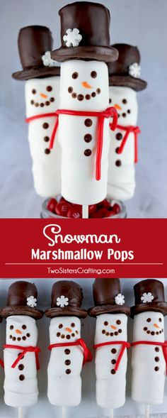 Snowman Marshmallow Pops - candy coated marshmallows on a stick with an Oreo cookie hat. They are so adorable and so fun to make. Cute Christmas Desserts, Mini Desserts, Christmas Goodies, Christmas Treats, Holiday Treats, Christmas Diy, Christmas Recipes, Holiday Foods, Winter Treats