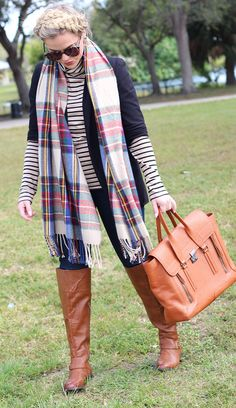This fall, mix up your closet staples by pairing plaid with stripes! Throw on a blazer and dark denim for casual Friday.