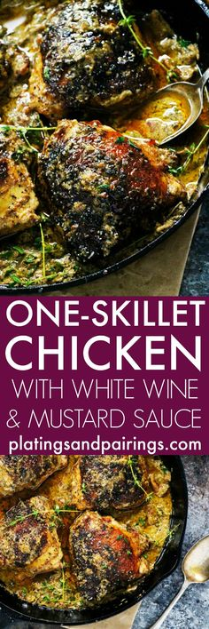 This One Skillet Chicken with White Wine & Mustard Cream Sauce cooks in…