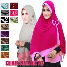Jilbab Khimar Syar'i Sayra Mix Pet  http://bundaku.net/pakaian-wanita/jilbab/jilbab-khimar-syari-sayra-mix-pet
